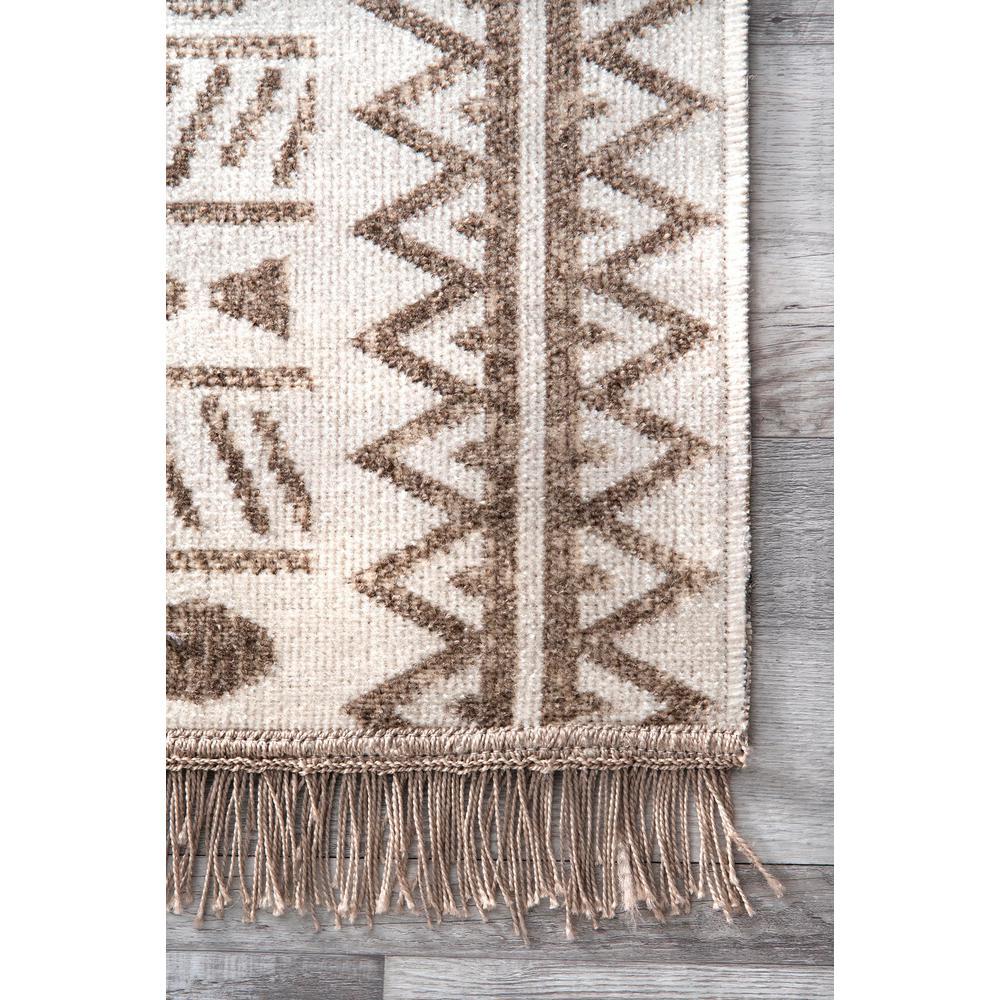 nuLOOM-Angie Tribal Beige 5 ft. x 8 ft.  Indoor/Outdoor Area Rug