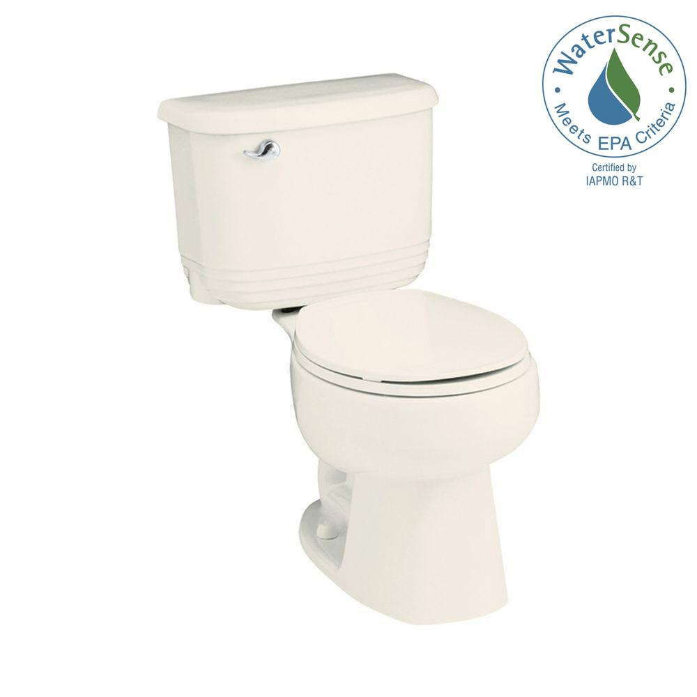 STERLING Riverton 2-piece 1.28 GPF Single Flush Round Toilet in Biscuit