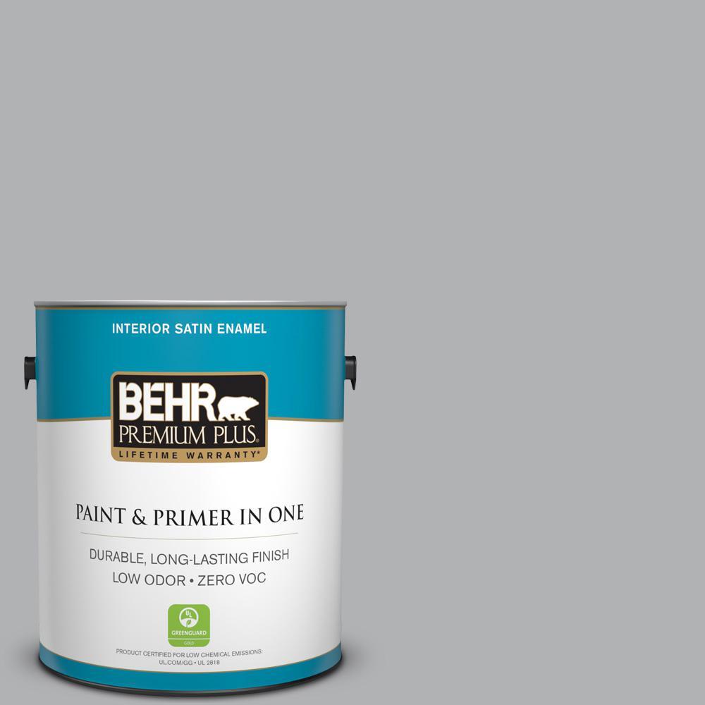 BEHR Premium Plus 1-gal. #770E-3 Pewter Mug Zero VOC Satin Enamel Interior Paint