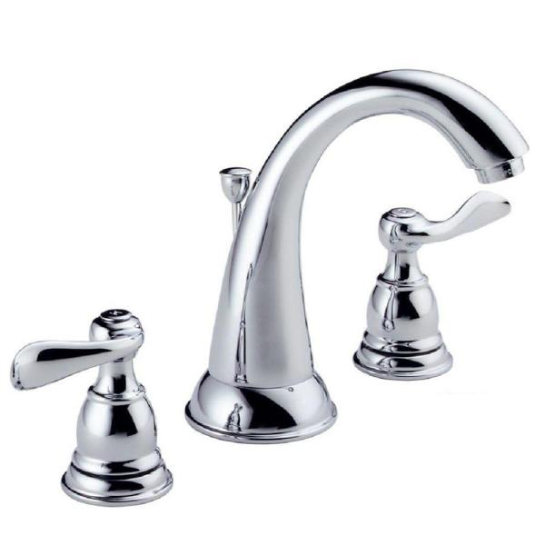 Delta Windemere 8 In Widespread 2 Handle Bathroom Faucet With Metal Drain Assembly In Chrome B3596lf The Home Depot