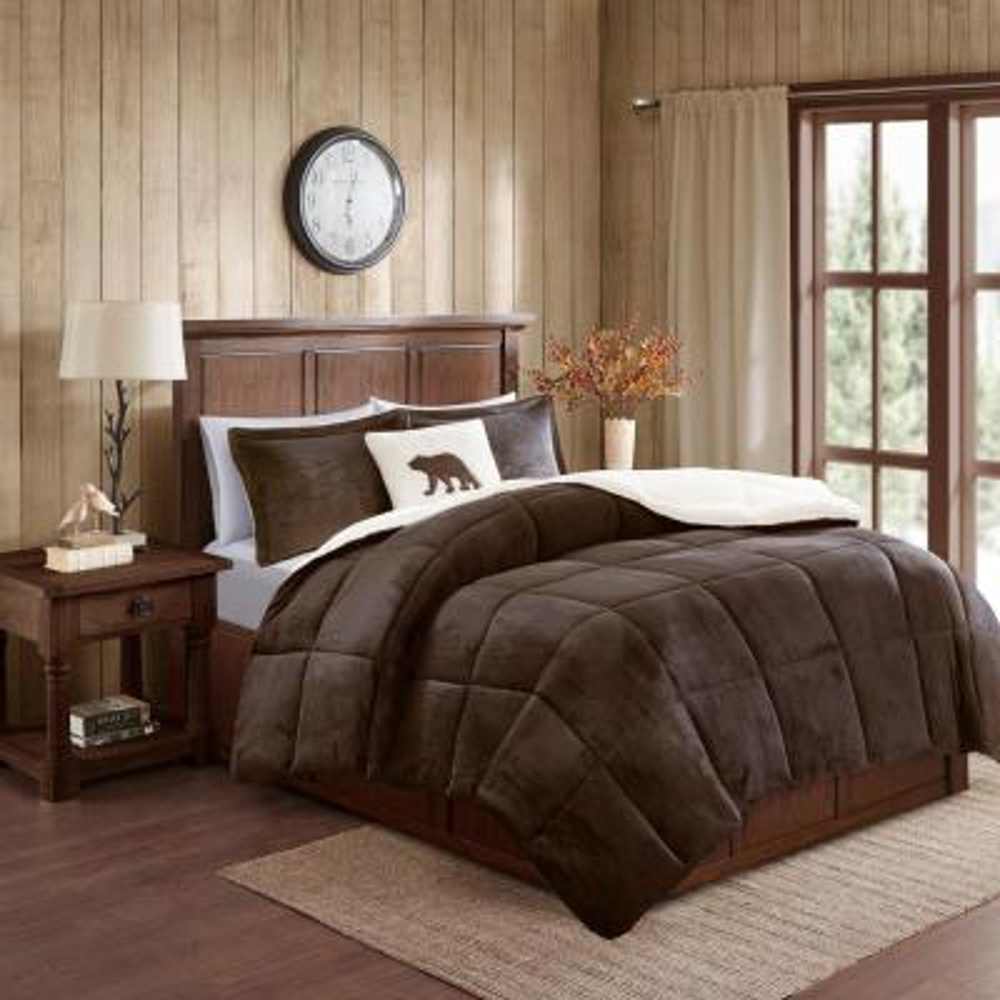 Alton 4-Piece Brown/Ivory King Plush to Sherpa Down Alternative Comforter Set