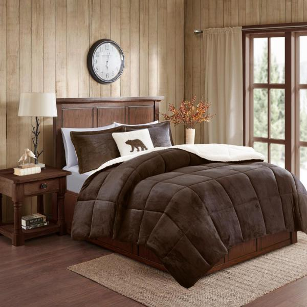 Woolrich Alton 4 Piece Brown Ivory King Plush To Sherpa Down Alternative Comforter Set Wr10 2885 The Home Depot,Diwali Home Decorations