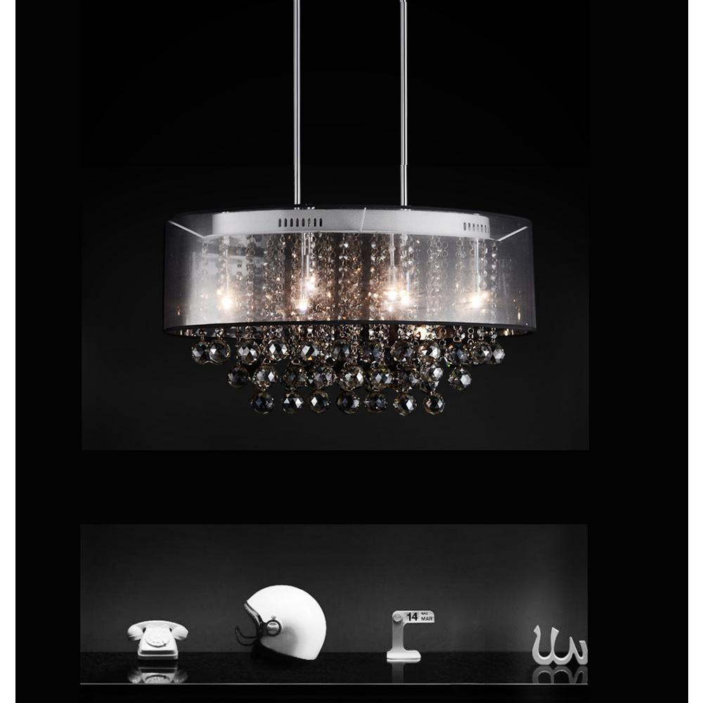 Radiant 9 Light Chrome Chandelier With Black Shade