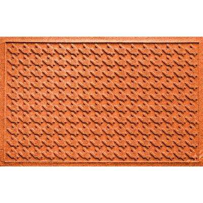 Houndstooth Orange 24 in. x 36 in. Polypropylene Door Mat