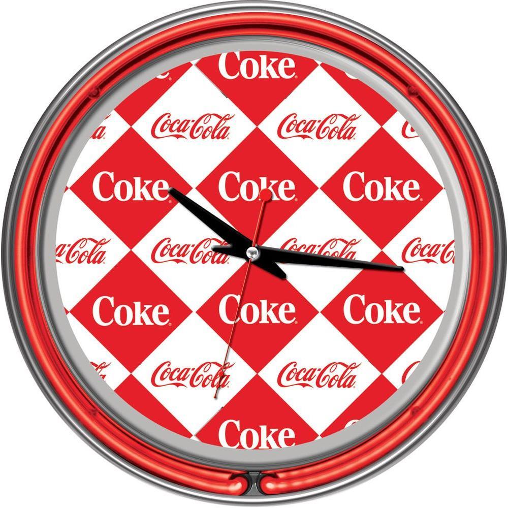 Trademark 14 in. Coca-Cola Checker Neon Wall Clock