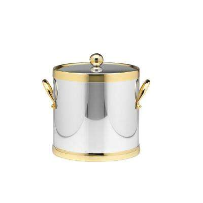 Americano 3 Qt. Polished Chrome & Brass Ice Bucket with Brass Lid, Metal Side Handles