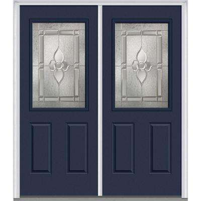 64 in. x 80 in. Master Nouveau Right-Hand Inswing 1/2-Lite Decorative Painted Fiberglass Smooth Prehung Front Door