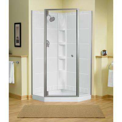 Solitare 29-7/16 in. x 72-1/4 in. Neo-Angle Shower Door in Nickel with Handle