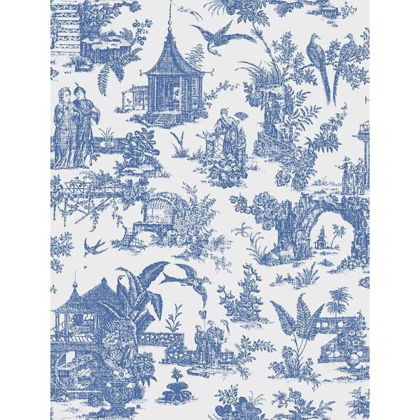 Brewster Sage Blue Toile Wallpaper 2686