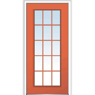 32 in. x 80 in. Classic Left-Hand Inswing 15-Lite Clear External Grilles Painted Fiberglass Smooth Prehung Front Door