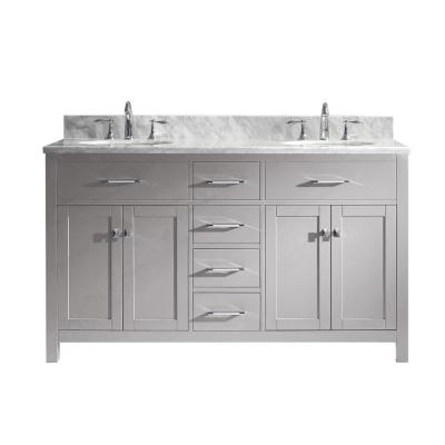 Virtu USA Caroline 60 in. W Double Bath Vanity in Cashmere Grey with Marble Vanity Top and Round Basin with Faucet