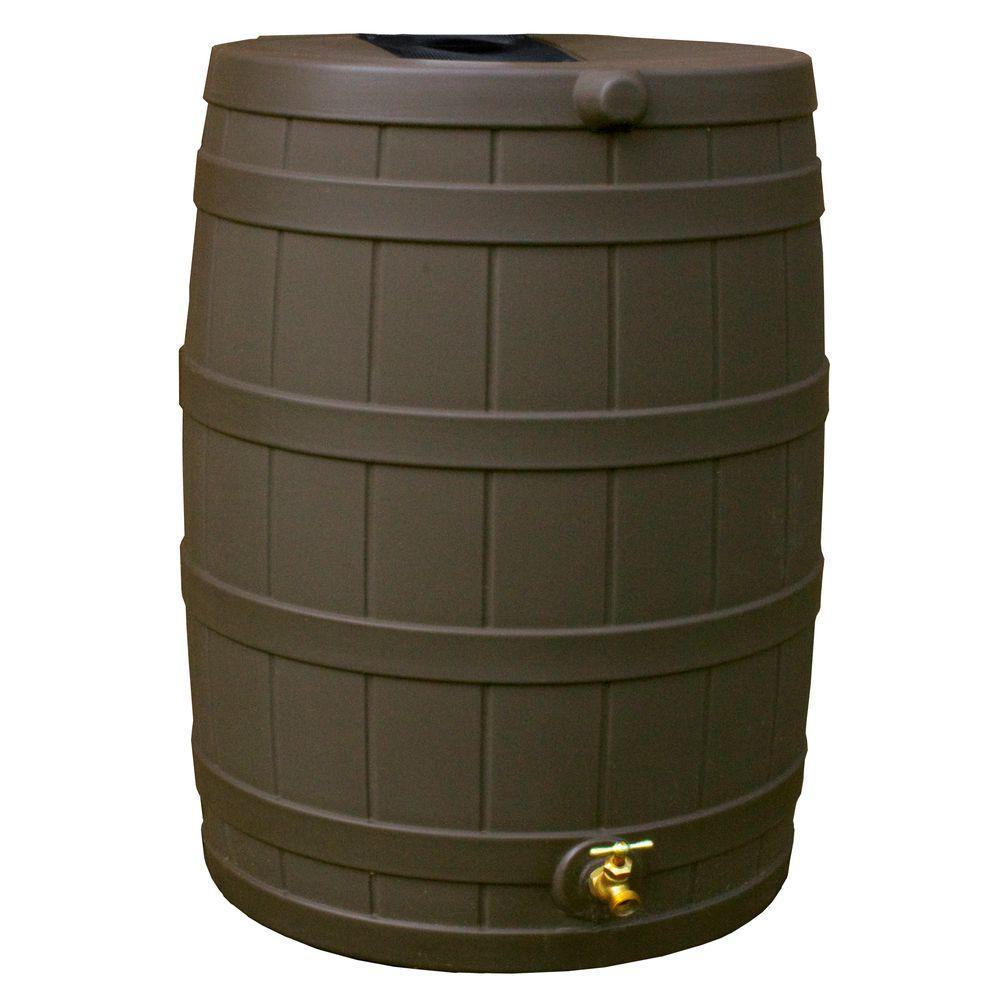 Rain Wizard 50 Gal Oak Rain Barrel Rw50 Oak The Home Depot