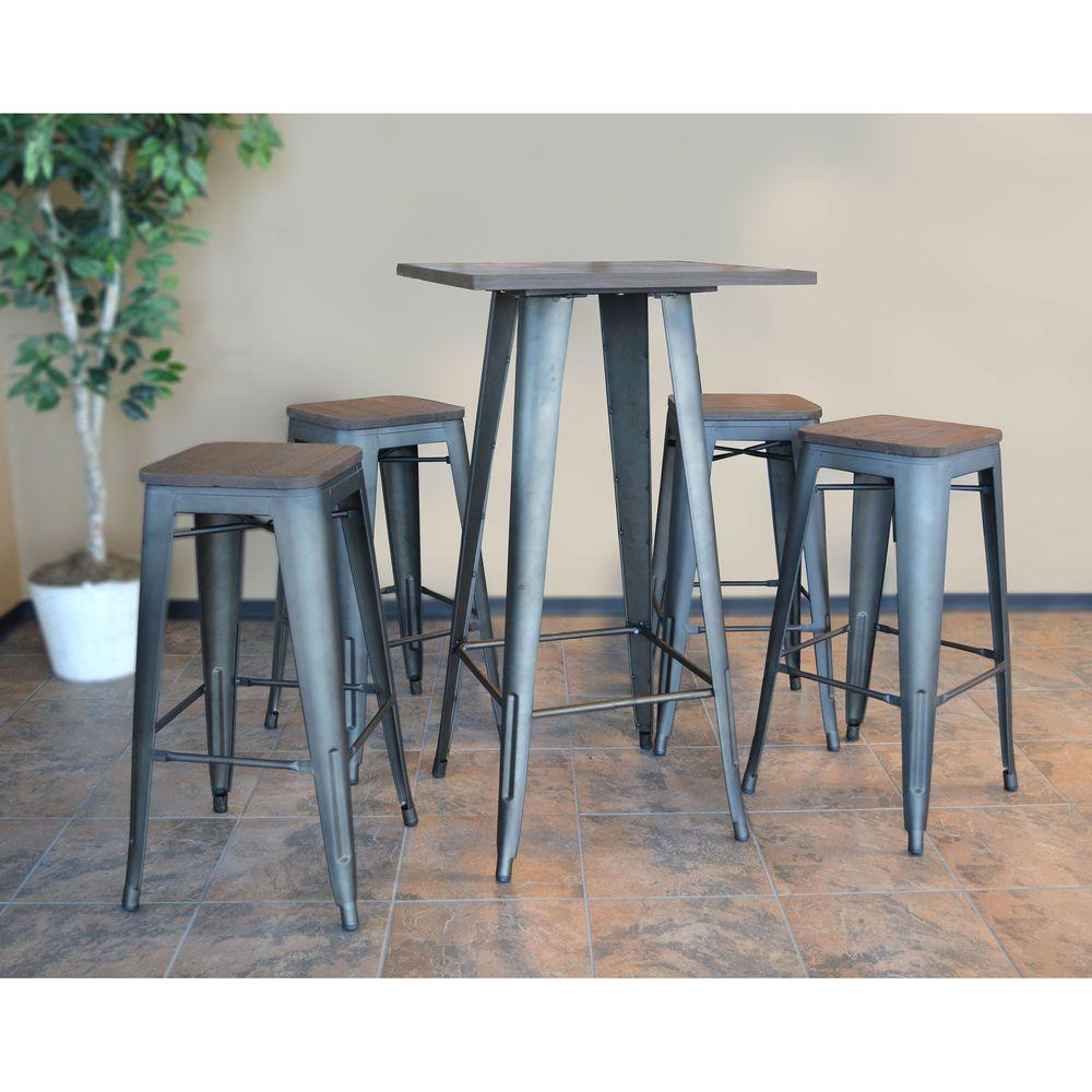 Amerihome Loft Style Rustic Gunmetal Bar Table Set With Dark Elm Wood Tops 5 Piece Bsset37