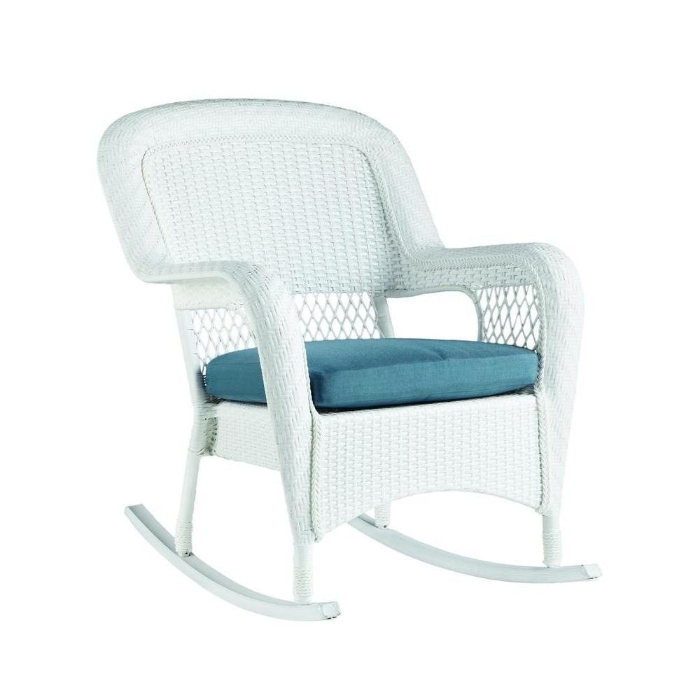 Martha Stewart Living Charlottetown White All Weather Wicker Outdoor Patio  Rocking Chair With Washed Blue Cushion 65 617304   The Home Depot