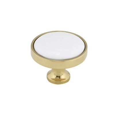 1-1/4 in. (32 mm) Brass White Eclectic Brass, Ceramic Cabinet Knob