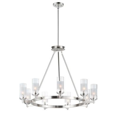 Crescendo 35 in. W 9-Light Satin Nickel Chandelier with Clear/Frosted Shade