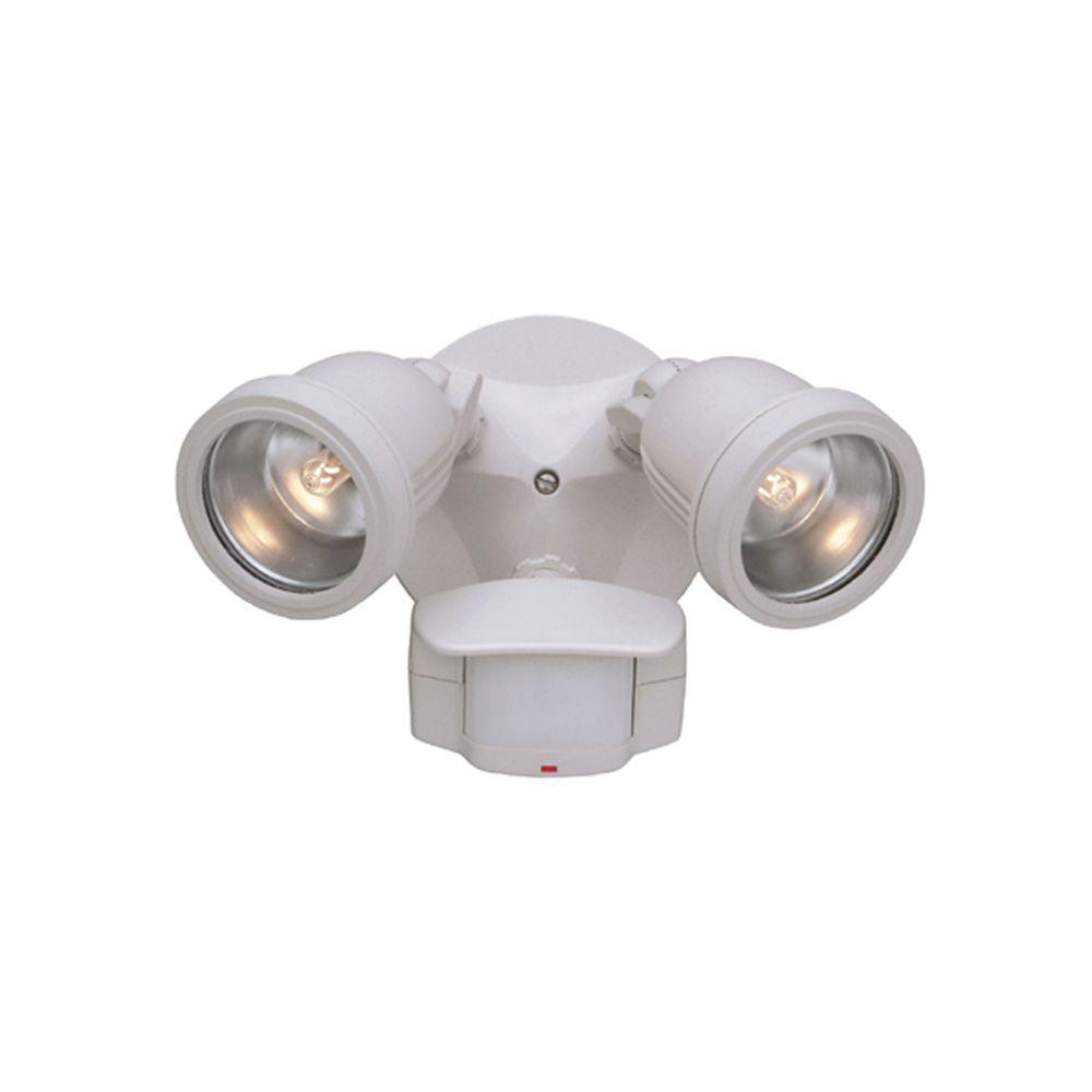 Designers Fountain Area And Security 2 Light White Outdoor Halogen With Motion Detectors