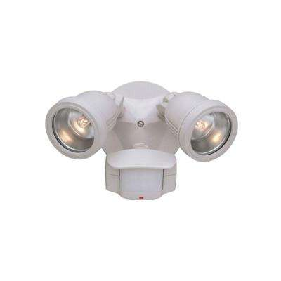 Area and Security 2-Light White Outdoor Halogen Security Light with Motion Detectors