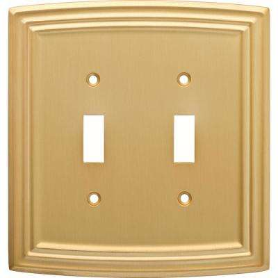 Emery Decorative Double Light Switch Cover, Brushed Brass