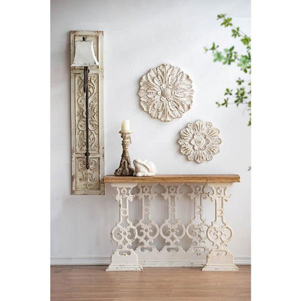 A B Home 18 In Weathered Cream Medallion Wall Decor 77177 Ds The Home Depot