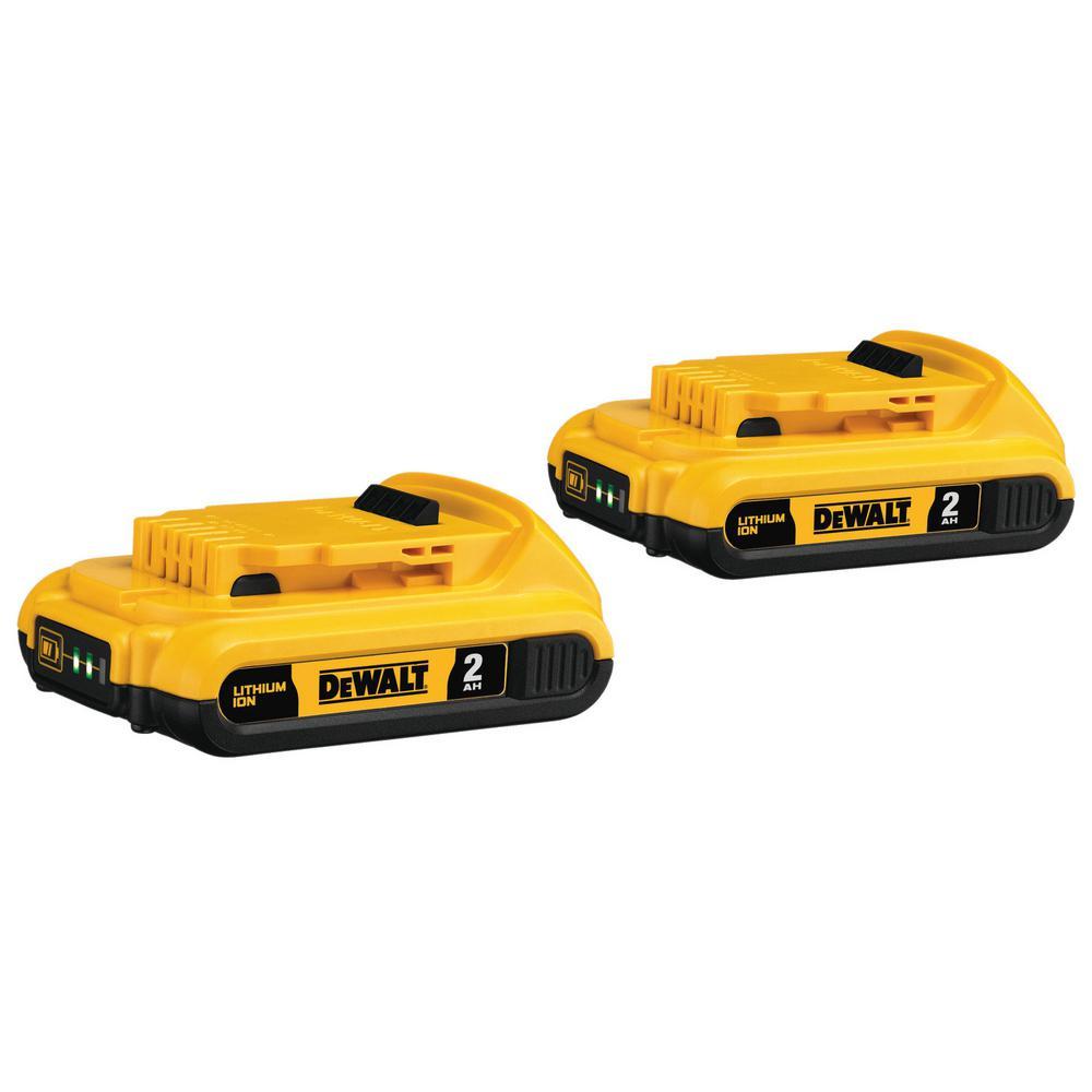 DEWALT 20-Volt MAX Lithium-Ion Compact Battery Pack 2.0Ah (2-Pack)
