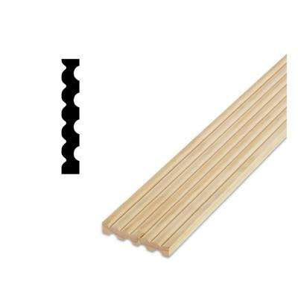 DM FLC7 - 1/2 in. x 3-1/8 in. 84 in. Solid Pine Reversable Design Fluted-Reeded Door and Window Casing Moulding