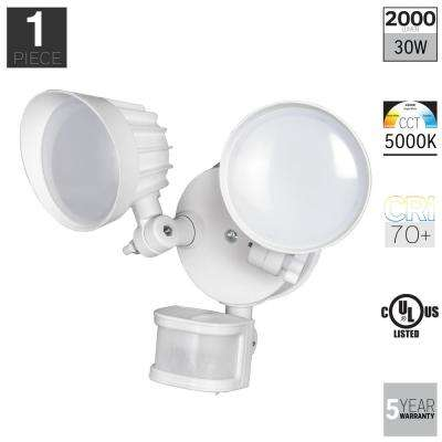 30-Watt 180-Degree White Motion Activated Integrated LED Outdoor Flood Light
