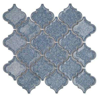 Roman Selection Iced Blue Lantern Glass Mosaic Tile - 3 in. x 6 in. Tile Sample