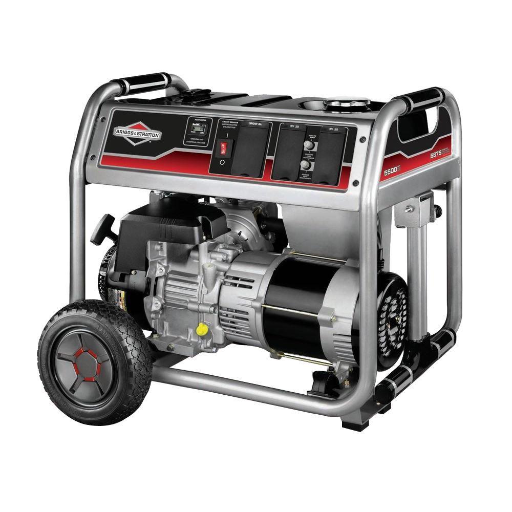 5,500-Watt Gasoline Powered Recoil Start Portable Generator