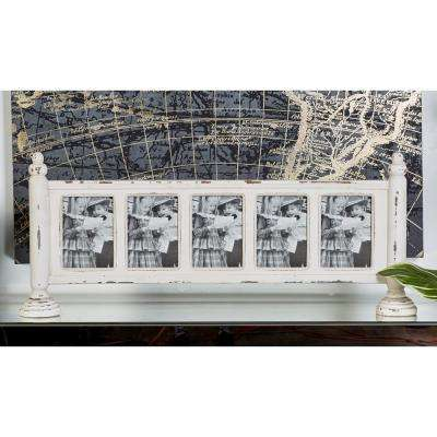5 in. x 7 in. Chipped White 5-Opening Standing Picture Frame