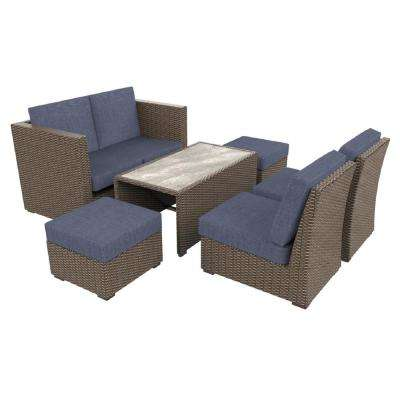 Whitfield 6-Piece Dark Brown Wicker Outdoor Patio Seating Set with Bare Cushions