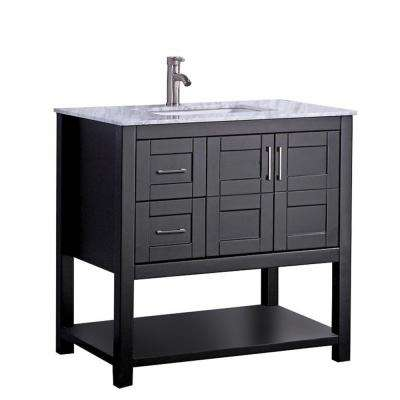 Nord 36 in. W x 22 in. D x 40 in. H Vanity in Espresso with Marble Vanity Top in White with White Basin