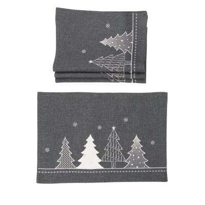 0.1 in. H x 20 in. W x 14 in. D Lovely Christmas Tree Embroidered Double Layer Placemats in Dark Gray (Set of 4)