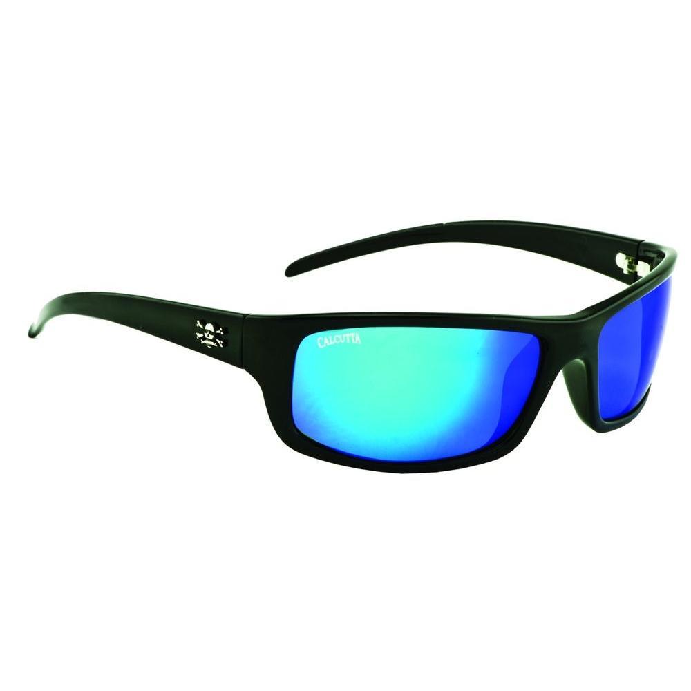 null Black Frame Pompano Sunglasses with Blue Mirror Lenses