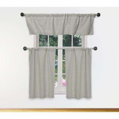 Moira Kitchen Valance in Stone-Silver - 15 in. W x 58 in. L (3-Piece)
