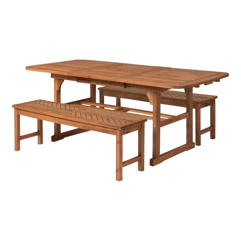 057cc43618 Walker Edison Furniture Company Brown 3-Piece Extendable Wood ...