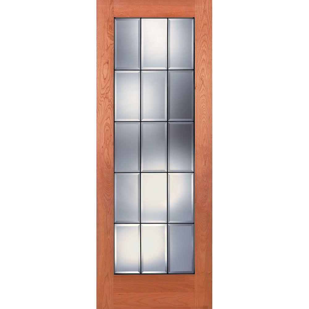 15 Lite Unfinished Cherry Clear Bevel Patina Woodgrain Interior Door Slab