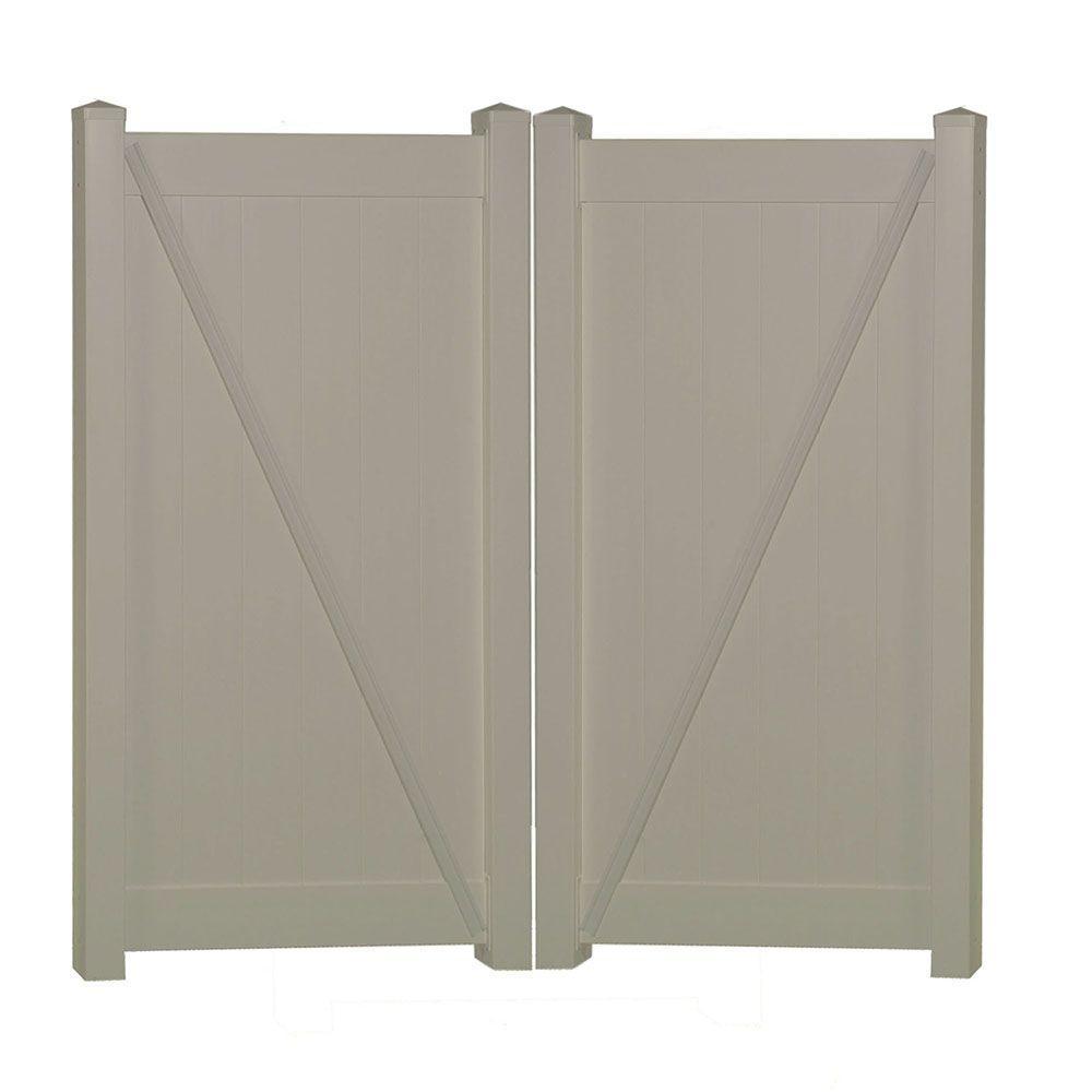 Savannah 7.4 ft. W x 6 ft. H Khaki Vinyl Privacy Double Fence Gate