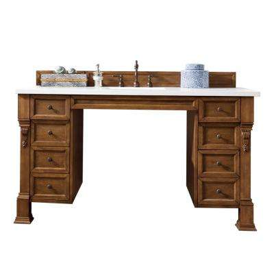 Brookfield ADA 60 in. W Single Vanity in Country Oak with Marble Vanity Top in Carrara White with White Basin