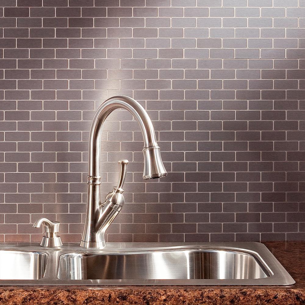 Subway Matted 12 In X 4 Brushed Stainless Metal Decorative Tile Backsplash 1 Sq Ft
