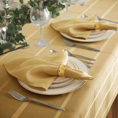17 in. W x 17 in. L Elrene Elegance Plaid Damask Ribbon Gold Fabric Napkins (Set of 4)