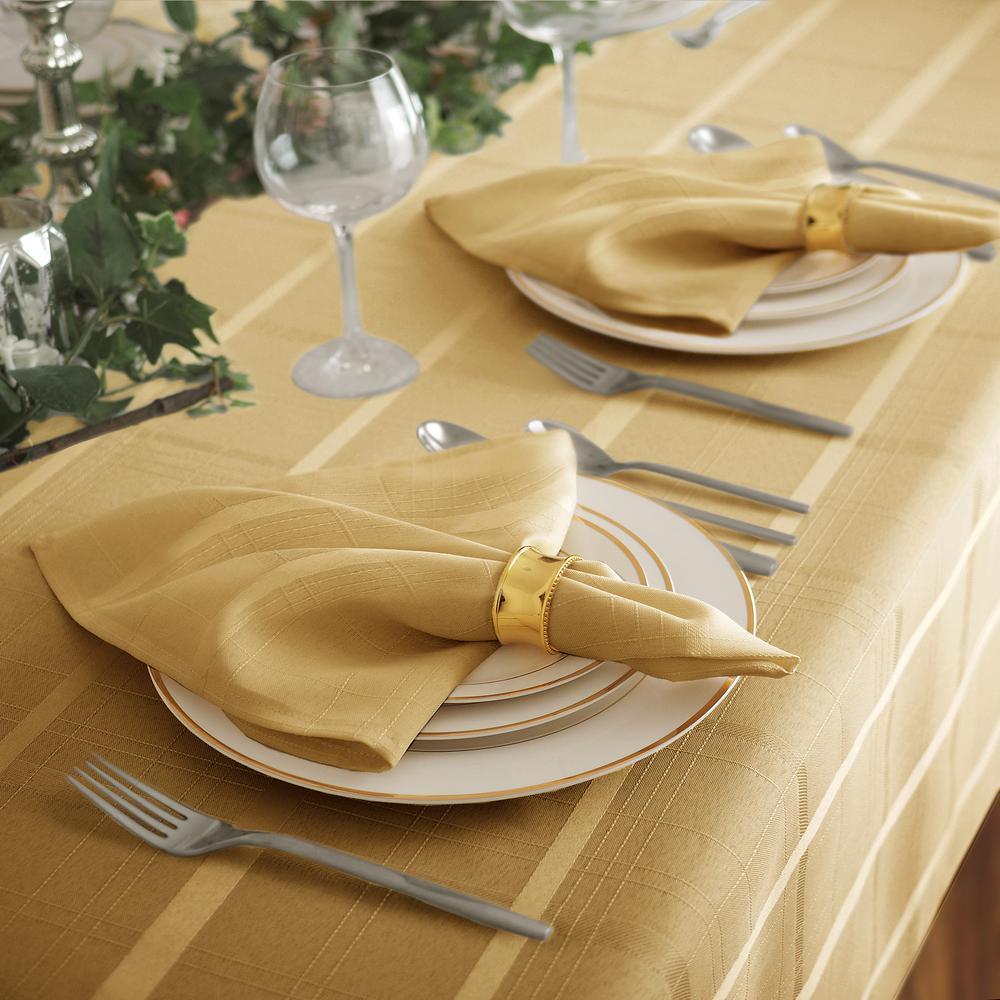 17 in. W x 17 in. L Elrene Elegance Plaid Damask Ribbon Gold Fabric Napkins (Set of 4)
