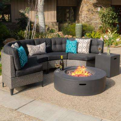 Mixed Black 6-Piece Wicker Patio Fire Pit Conversation Set with Dark Gray Cushion