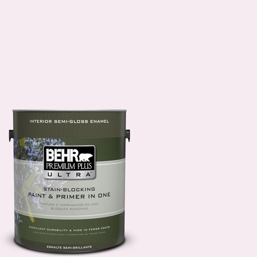 1-gal. #100A-1 Barely Pink Semi-Gloss Enamel Interior Paint