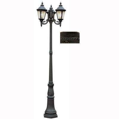 Breeze Way 3-Light Rust Pole Light with Seeded Glass