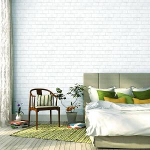 Tempaper Brick White Self-Adhesive Removable Wallpaper BR096 ...