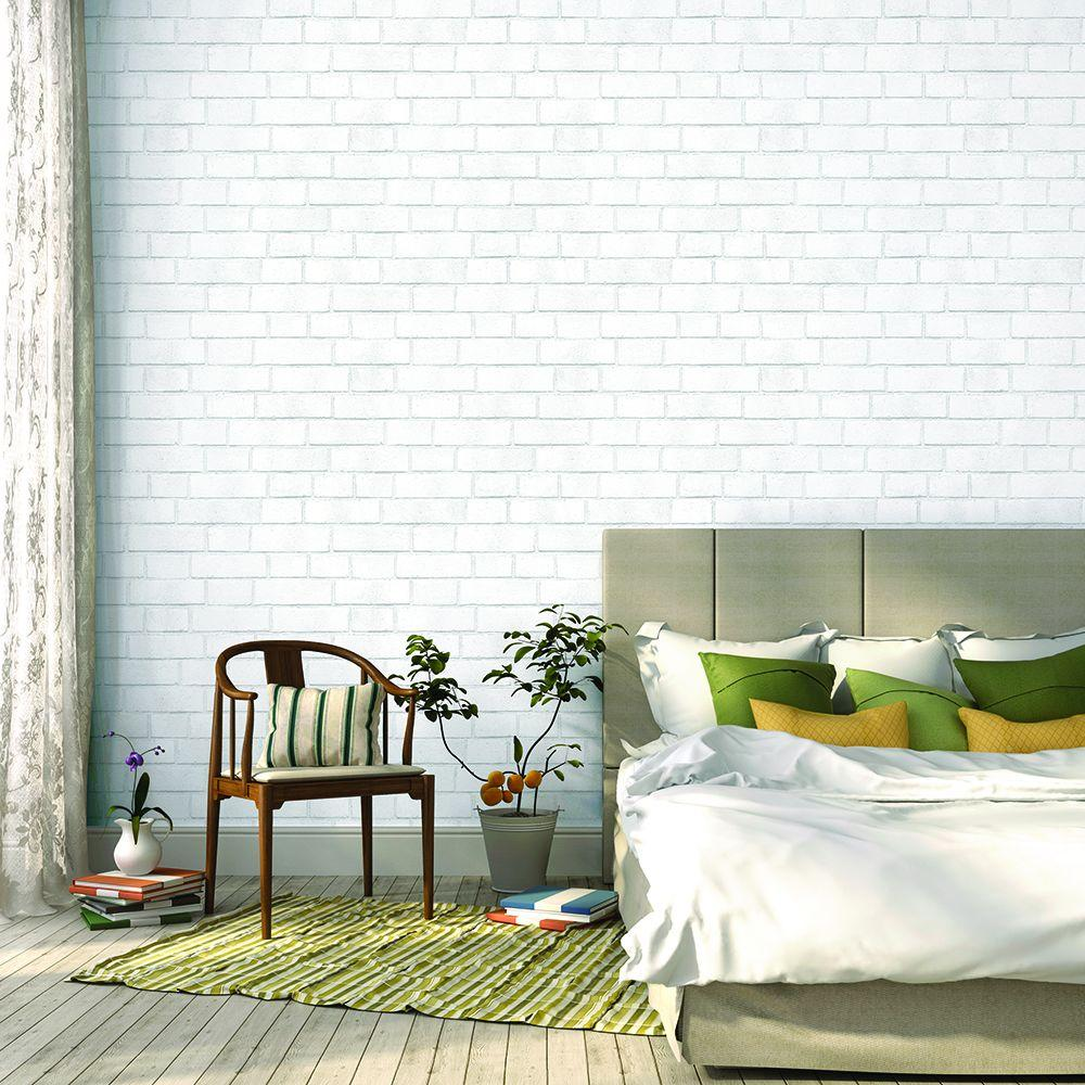 tempaper white brick wallpaper-br096 - the home depot