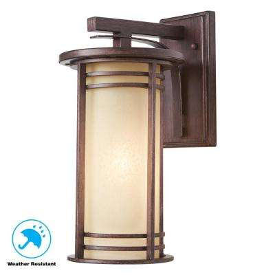 15 in. 1-Light Bronze Outdoor Wall Lantern with Amber Glass