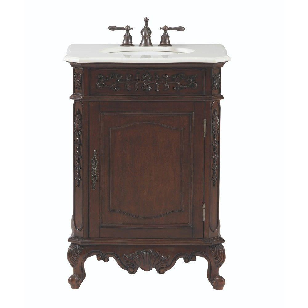 Home Decorators Collection Winslow 26 In W Vanity In Antique Cherry With Marble Vanity Top In