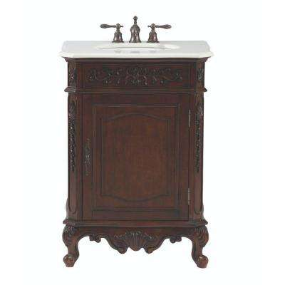 Winslow 26 in. W Vanity in Antique Cherry with Marble Vanity Top in White with White Basin